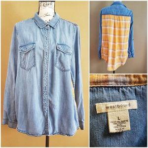 Westbound Roll-Tab Sleeve Button Boyfriend Tunic L
